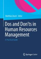Dos and Don?ts in Human Resources Management [electronic resource] : A Practical Guide