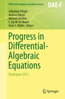 Progress in Differential-Algebraic Equations [electronic resource] : Deskriptor 2013