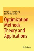 Optimization Methods, Theory and Applications [electronic resource]