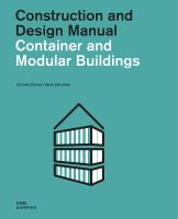 Container and modular buildings : construction and design manual