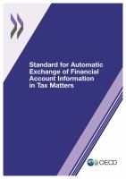 Standard for automatic exchange of financial account information in tax matters [electronic resource].