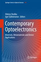 Contemporary Optoelectronics [electronic resource] : Materials, Metamaterials and Device Applications