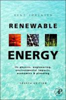Renewable energy physics, engineering, environmental impacts, economics & planning için kapak resmi
