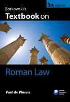 Borkowski's textbook on Roman law için kapak resmi