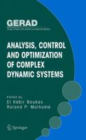 Analysis, Control and Optimization of Complex Dynamic Systems için kapak resmi