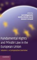 Fundamental rights and private law in the European Union : I. A comparative overview için kapak resmi