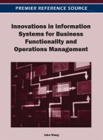 Innovations in information systems for business functionality and operations management için kapak resmi