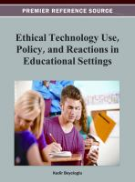 Ethical technology use, policy, and reactions in educational settings için kapak resmi