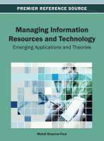 Managing information resources and technology emerging applications and theories için kapak resmi