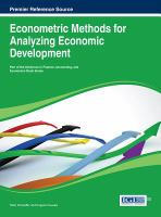 Econometric methods for analyzing economic development için kapak resmi
