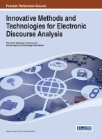 Innovative methods and technologies for electronic discourse analysis için kapak resmi