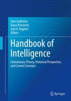 Handbook of Intelligence Evolutionary Theory, Historical Perspective, and Current Concepts için kapak resmi