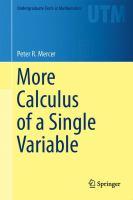 More Calculus of a Single Variable için kapak resmi