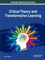 Critical theory and transformative learning için kapak resmi