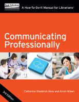 Communicating professionally:  a how-to-do-it manual® for librarians, 3rd Edition için kapak resmi