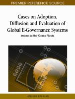 Cases on adoption, diffusion, and evaluation of global e-governance systems impact at the grass roots için kapak resmi