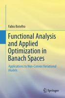 Functional Analysis and Applied Optimization in Banach Spaces Applications to Non-Convex Variational Models için kapak resmi