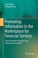 Promoting Information in the Marketplace for Financial Services Financial Market Regulation and International Standards için kapak resmi