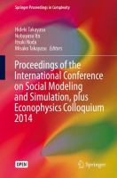 Proceedings of the International Conference on Social Modeling and Simulation, plus Econophysics Colloquium 2014 için kapak resmi