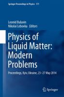 Physics of Liquid Matter: Modern Problems Proceedings, Kyiv, Ukraine, 23-27 May 2014 için kapak resmi