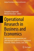 Operational Research in Business and Economics 4th International Symposium and 26th National Conference on Operational Research, Chania, Greece, June 2015 için kapak resmi