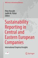 Sustainability Reporting in Central and Eastern European Companies International Empirical Insights için kapak resmi