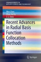 Recent Advances in Radial Basis Function Collocation Methods için kapak resmi