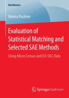 Evaluation of Statistical Matching and Selected SAE Methods Using Micro Census and EU-SILC Data için kapak resmi