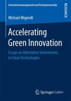 Accelerating Green Innovation Essays on Alternative Investments in Clean Technologies için kapak resmi