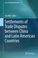 Settlements of Trade Disputes between China and Latin American Countries için kapak resmi
