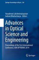 Advances in Optical Science and Engineering Proceedings of the First International Conference, IEM OPTRONIX 2014 için kapak resmi
