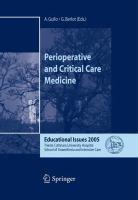 Perioperative and Critical Care Medicine Educational Issues 2005 için kapak resmi