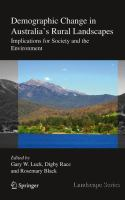 Demographic Change in Australia's Rural Landscapes Implications for Society and the Environment için kapak resmi