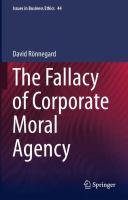 The Fallacy of Corporate Moral Agency için kapak resmi