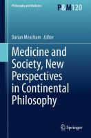 Medicine and Society, New Perspectives in Continental Philosophy için kapak resmi