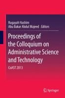 Proceedings of the Colloquium on Administrative Science and Technology CoAST 2013 için kapak resmi