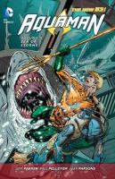 Cover image for Aquaman. Volume 5, Sea of storms / Jeff Parker, Charles Soule, writers ; Paul Pelletier [and 3 others], pencillers ; Sean Parsons [and 7 others], inkers ; Wil Quintana [and 6 others], colorists ; Dezi Sienty [and 3 others], letterers.