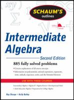 Cover image for Schaum's outline of intermediate algebra / Ray Steege, Kerry Bailey.