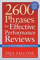 Cover image for 2600 phrases for setting effective performance goals [eBook] : ready-to-use phrases that really get results / Paul Falcone.