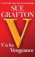 """Cover image for """"V"""" is for vengeance [large print] / by Sue Grafton."""