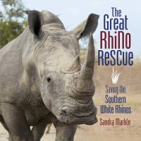 Cover image for The great rhino rescue : saving the southern white rhinos / Sandra Markle.
