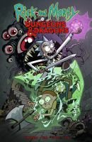 Cover image for Rick and Morty vs. Dungeons & Dragons / written by Patrick Rothfuss & Jim Zub ; art by Troy Little ; colors by Leonardo Ito ; letters by Robbie Robbins.
