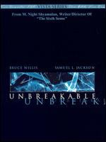 Cover image for Unbreakable [DVD] / Touchstone Pictures presents a Blinding Edge Pictures/Barry Mendel production ; produced by Barry Mendel and Sam Mercer ; written, produced and directed by M. Night Shyamalan.