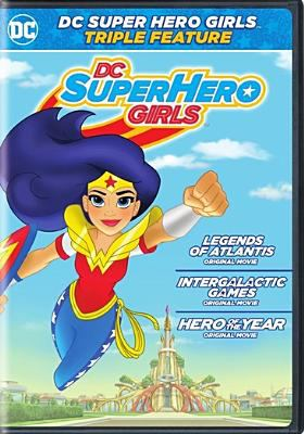 Cover image for DC superhero girls [DVD] : triple feature / WB Animation [presents] ; directed by Cecilia Aranovich Hamilton ; written by Shea Fontana ; producer, Jennifer Coyle.