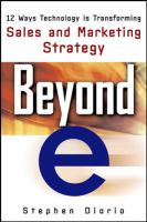 "Cover image for Beyond ""e"" : 12 ways technology is transforming sales and marketing strategy"