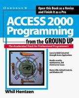 Cover image for Access 2000 programming from the ground up