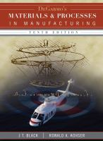 Cover image for DeGarmo's materials and processes in manufacturing