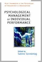 Cover image for Psychological management of individual performance