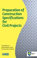 Cover image for Preparation of construction specifications for civil projects