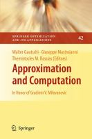 Cover image for Approximation and computation